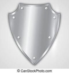 acciaio, scudo, inossidabile, astratto, illustrazione, vettore