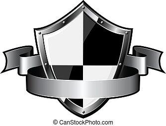 acciaio, scudo, nastro