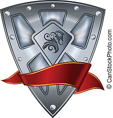 acciaio, scudo, nastro, rosso