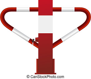 acciaio, serratura, bianco rosso, barriera