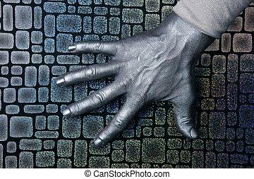 acciaio, sopra, mano, textured, argento, futuristico, uomo