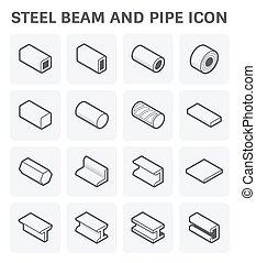 acciaio, trave, tubo