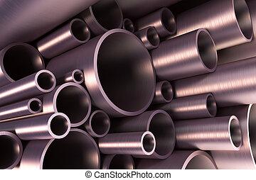 acciaio, tubazione, pila