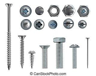 acciaio, unghia, bulloni, realistico, vettore, viti, 3d