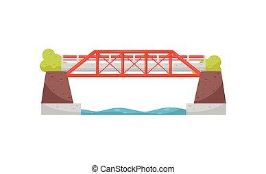 acciaio, urbano, infrastructure., appartamento, grande, river., vettore, disegno, trasporto, automobile, incrocio, ferrovia, bridge., o, struttura