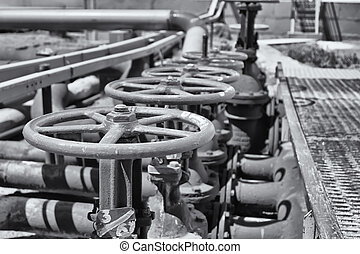acciaio, valvola, portato, raffineria, officina, presa