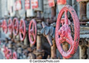 acciaio, valvola, portato, raffineria, officina, presa, rosso