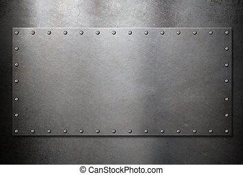 acciaio, vecchio, metallo, fondo, piastra