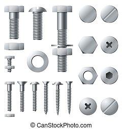 acciaio, vite, dirigere insieme, bulloni, elements., noce, metallo, isolato, realistico, vettore, screws., bullone, costruzione, ribattino