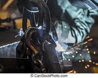 acciaio, woker, industria, saldatura
