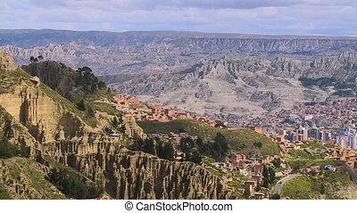 accidenté, autour de, ville, paz, bolivie, paysage