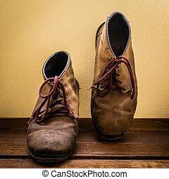 accidenté, chaussures, encore, lumière