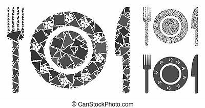 accidenté, restaurant, vaisselle, icône, composition, articles