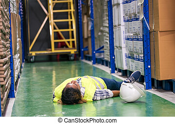 accident., αποθήκη , μαύρο , αφρικανός , αδικώ , εργάτης