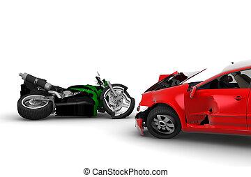 Accident - A red car and a green motorbike crush