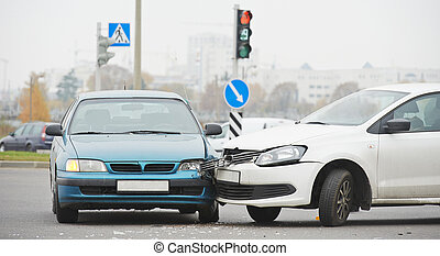 accident auto, collision, dans, urbain, rue