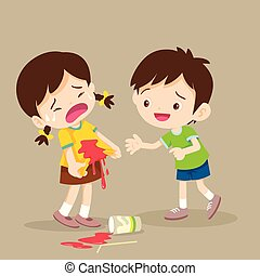 Boy embrace the Girl are stained at the shirt. accident beverage. girl stained at the shirt with friend helping