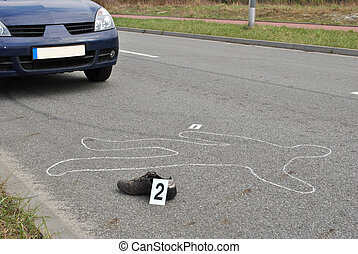 Accident - Body of a man on the street  hit by the car