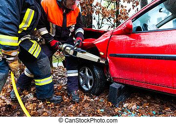 accident, brûler, voiture, -, victime, sauve, brigade