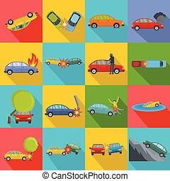 Accident car crash case icons set, flat style