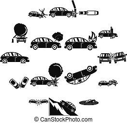 Accident car crash case icons set, simple style