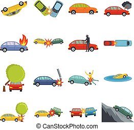 Accident car crash case icons set vector isolated