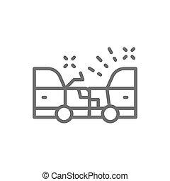 Accident, car crash line icon. Isolated on white background