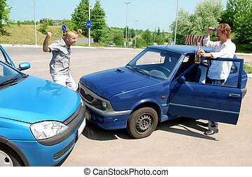 accident two cars, angry businessman and drunk man holding a bottle alcohol