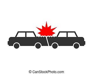 Accident cars. RGB - Car crash icon. Accident cars. ...