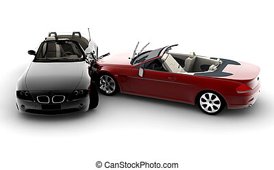 Accident cars - Two cars in an accident isolated on white...