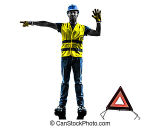 accident detour deviation man silhouette isolated in white...