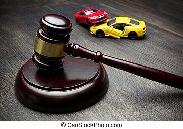 accident, deux, voitures, collided, juge, marteau