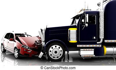 accident, entre, a, voiture, et, a, camion