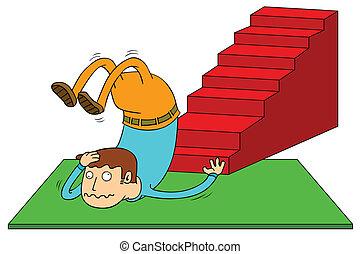 accident, escalier