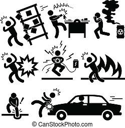 Accident Explosion Danger Risk - A set of pictogram...