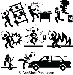 Accident Explosion Danger Risk - A set of pictogram...