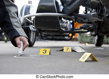 Accident forensics - Forensics at the site of a car crash,...