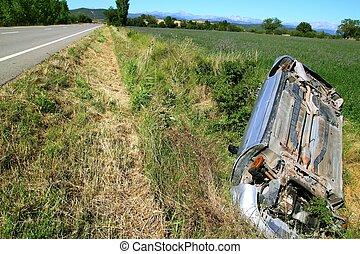 accident, fracas, voiture, bas, dessus, véhicule