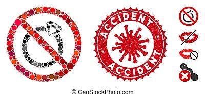 accident, gratté, bijouterie, mosaïque, non, coronavirus, tamponnez icône