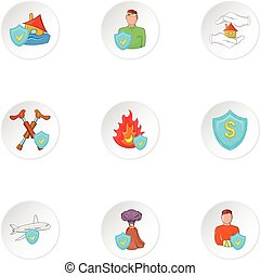 Accident icons set, cartoon style
