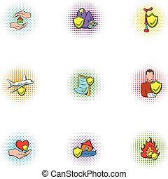 Accident icons set, pop-art style