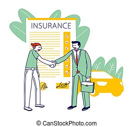 Insurance agent and people conclude policy agreement ...