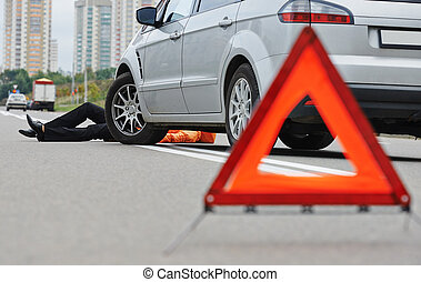 Road accident. Knock down pedestrian and upset driver in front of automobile crash car collision