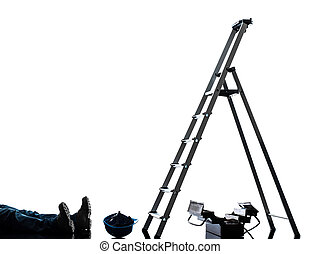 accident manual worker man falling from  ladder  silhouette