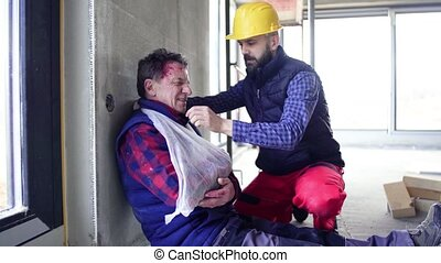Accident of man workers at the construction site.