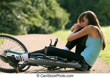 accident on bicycle - Female bike rider takes a tumble and...