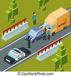 Accident on city road. Polices car and disasters vector isometric urban scene