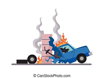 Accident on road car damaged. Road accident icon. Car crash ...