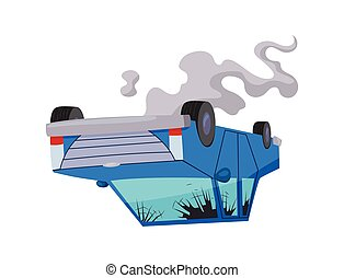 Accident on road car damaged. Road accident icon. Car ...