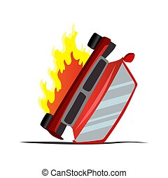 Accident on road. Inverted machine after collision. Illustration of crash vehicle, damage auto. Insurance case. Vector broken cartoon auto.